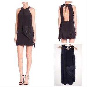Derek Lam 10 Crosby Silk Draped Fringe Dress Black